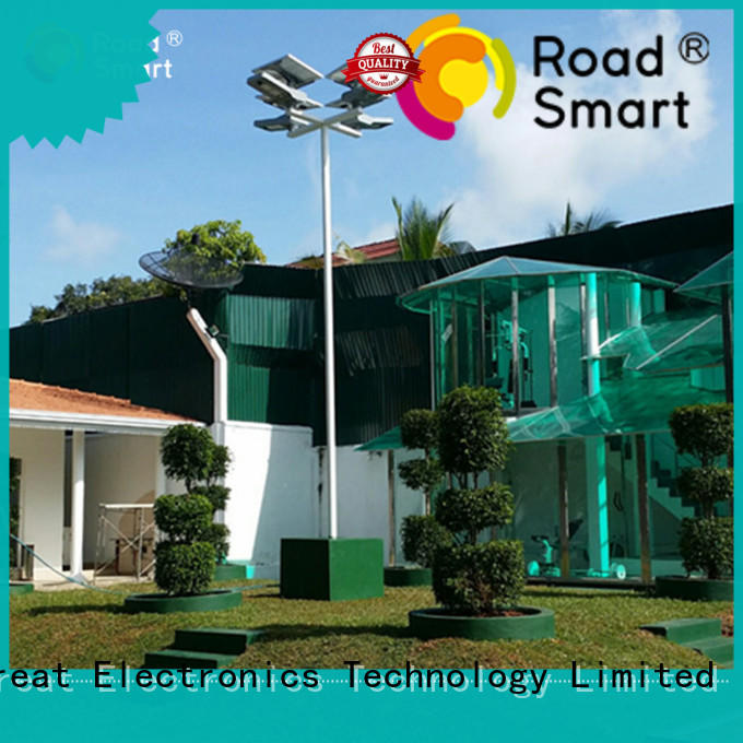 Road Smart remote controlled solar powered outside lights with adjustable panel for road